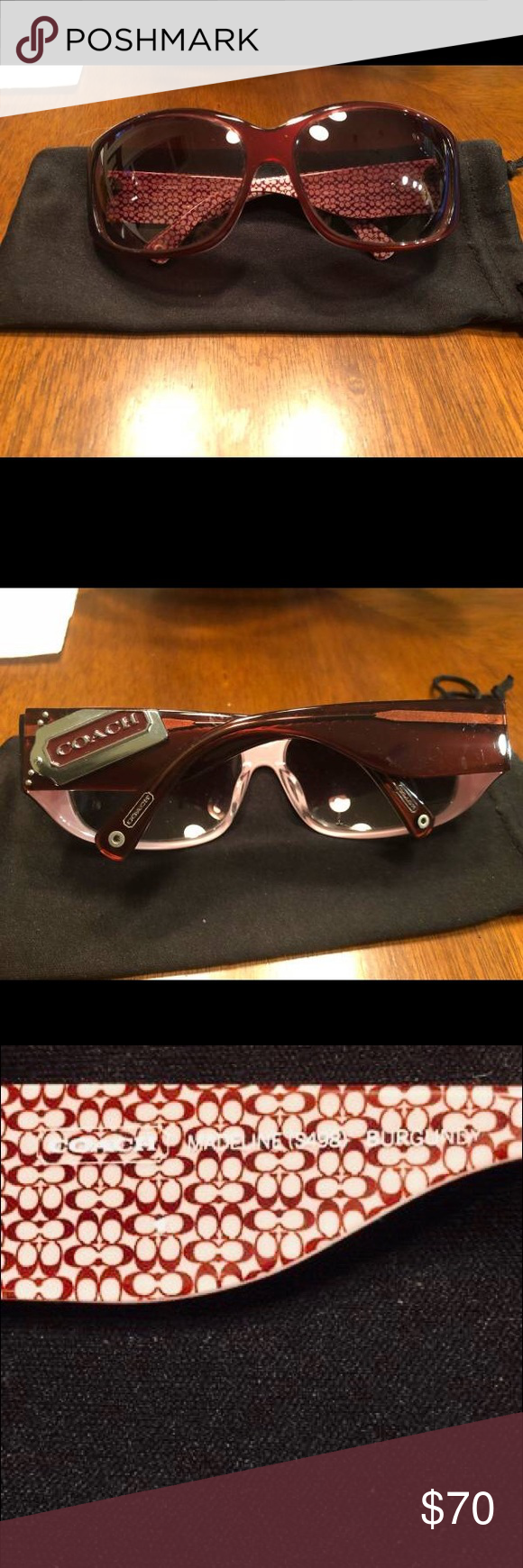"9a29d044b6 Burgandy COACH Allie Sunglasses Madeline S498 Excellent condition Coach  Burgandy S498 as shown on temple leg. Dimensions are  5-1 2"" wide x 2"" H at  lenses ..."
