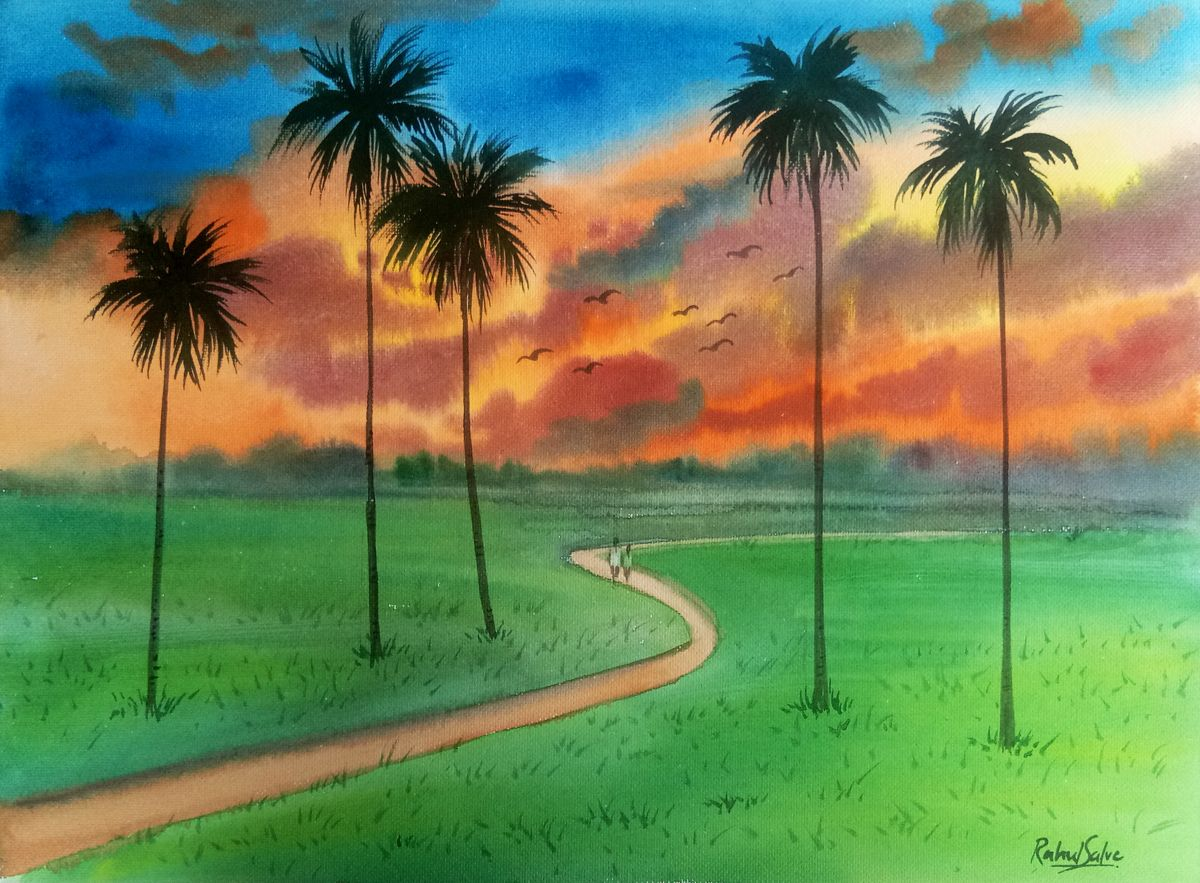 Artist Has Shown The Evening Beauty In This Painting Sky Is Getting Orange The Day Is About To End And Eve In 2020 Landscape Paintings Nature Paintings Landscape Art