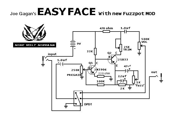 Fuzz Face Schematic on fuzz pedal schematic, wah schematic, univibe schematic, solar charge controller schematic, overdrive schematic, 3 pole double throw switch schematic, compressor schematic, tremolo schematic, muff fuzz schematic, simple fuzz box schematic, mutron iii schematic, tube screamer schematic, colorsound overdriver schematic, super fuzz schematic, harmonic percolator schematic, ts9 schematic, marshall schematic, simple tube amp schematic, tube driver schematic, distortion schematic,