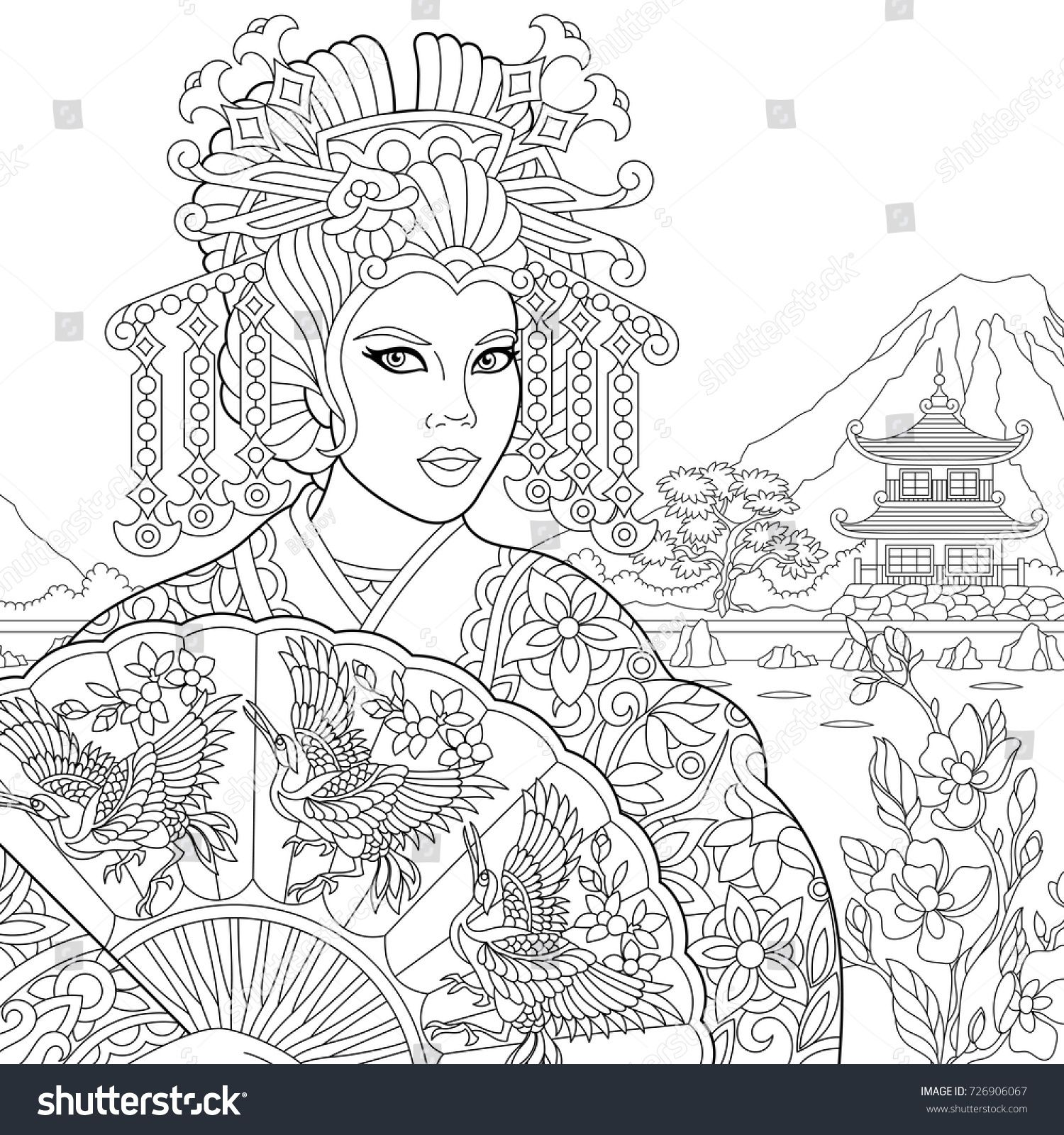 Coloring Page Of Geisha Japanese Dancing Actress Holding Paper Fan With Crane Birds Freehand Sketch Drawing For Adult Antistress Book In
