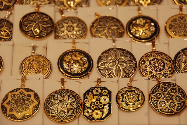 Toledo Gold Inlaid Steel Spain Pendants and City