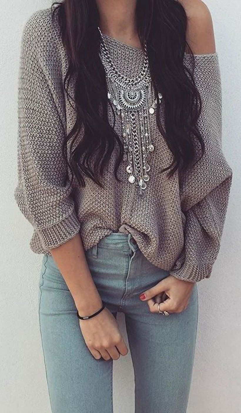 e40e762cf185 Cute   Casual Fall Outfits For School 2017 - Boho Indie Hippie Chunky  Statement Necklace Accessories at MyBodiArt.com