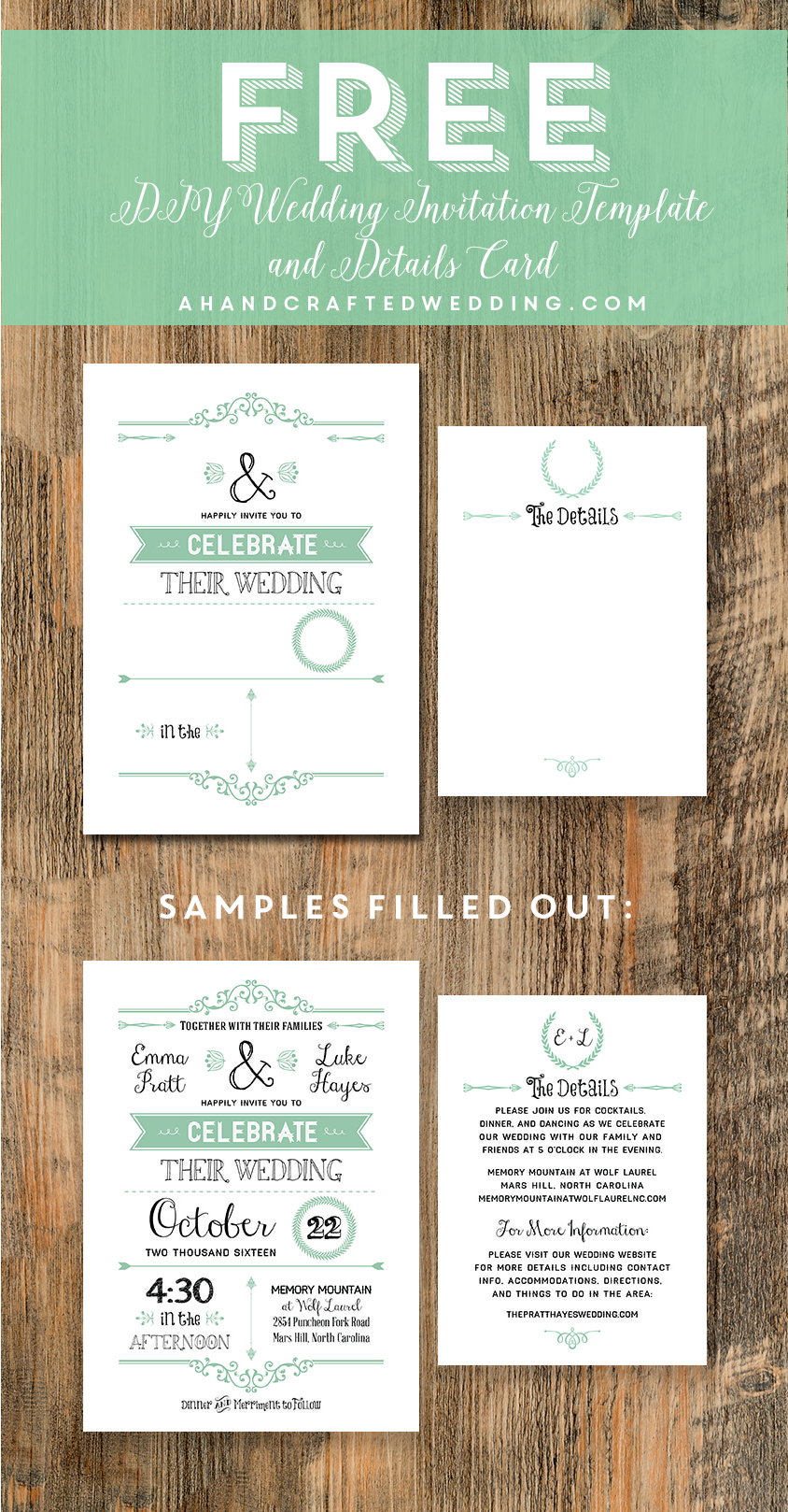 sample of wedding invitation letter%0A DIY Wedding Invitations with free printable template i really would rather  use this      i can easily edit them to change them up       Pinterest    Diy