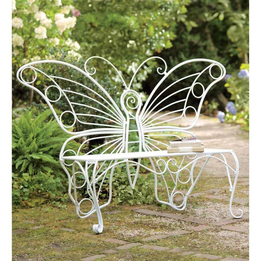 White Metal Garden Butterfly Bench Plow Amp Hearth En 2019