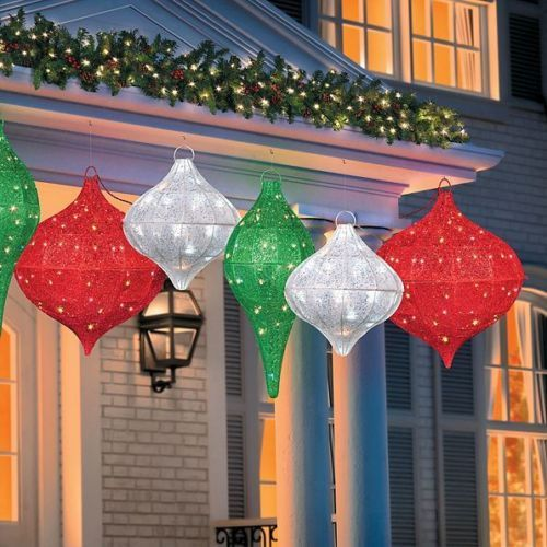 outdoor lighted hanging christmas ornament sculptures yard decor 3 colors - Hanging Lighted Christmas Decorations