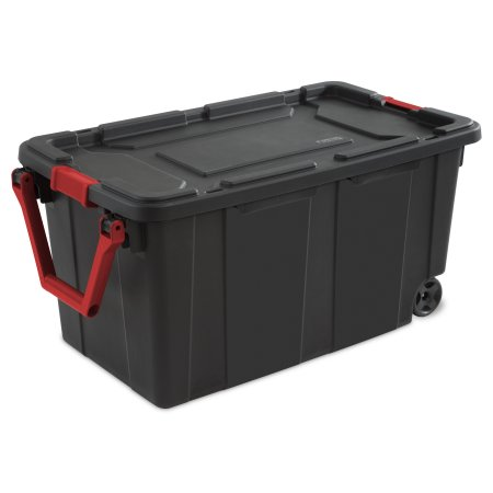 Sterilite 40 Gal Wheeled Industrial Tote Black Set Of 2 Walmart Com Storage Bins With Wheels Large Storage Bins Plastic Box Storage