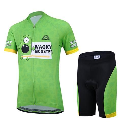 Kids' Green Monster Short Sleeve Cycling Jerset Set #Cycling #CyclingGear #CyclingJersey #CyclingJerseySet