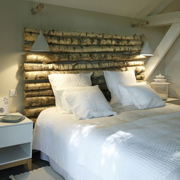 quand la nature inspire des chambres chic inspiration chambre pinterest rondin de bois. Black Bedroom Furniture Sets. Home Design Ideas