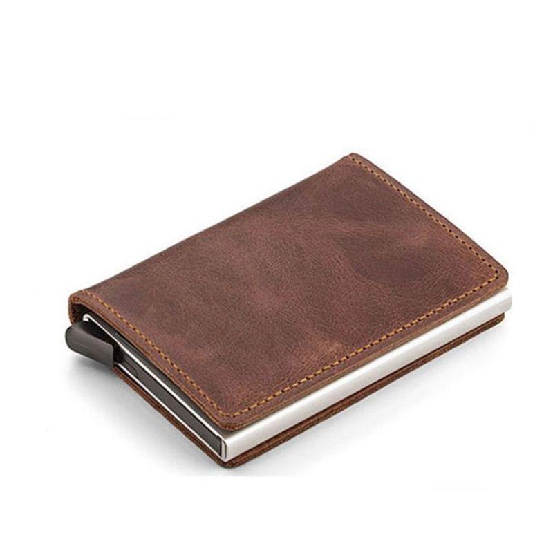 59f0ca90e4e Automatische Silde Aluminium ID Cash Kaarthouder Lederen Mannen Business  RFID Blokkeren Portemonnee Creditcard Protector Case