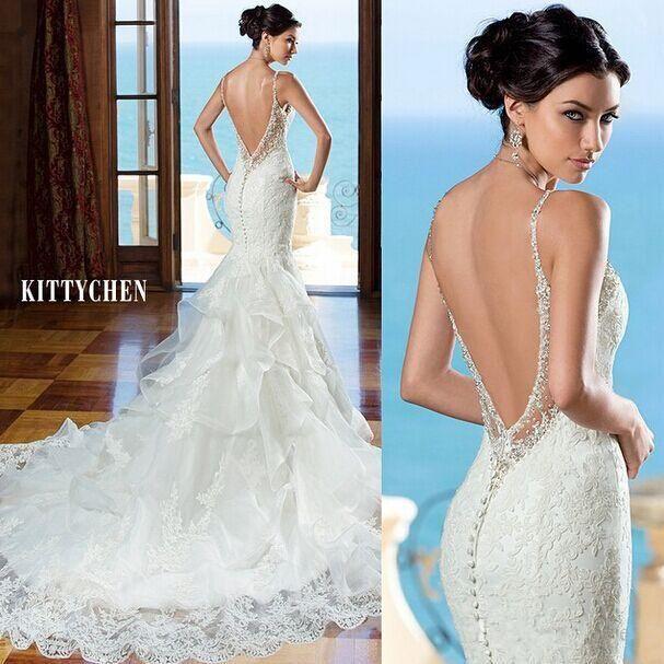 Lace no back wedding dresses