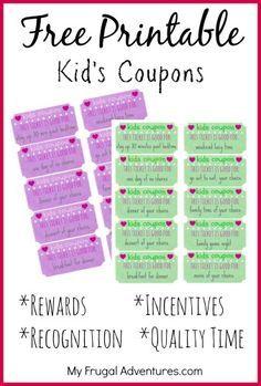 children s gift idea free printable reward tickets children