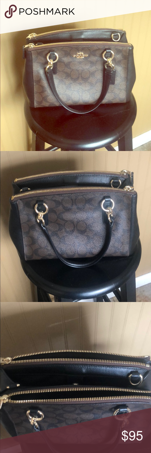 Coach Christie Carryall Signature Khaki Black In 2018 My Posh Mini Crossbody Gently Used Small Crossgrain