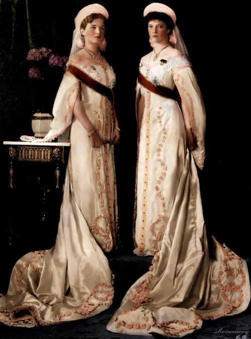 The Grand Duchesses of Russia in court dresses, photographs from 1911 and 1913. By klimbims on deviantART