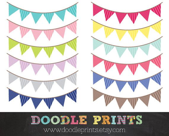 Buntings Pennant Banner Patterned Triangle Banner by doodleprints ...
