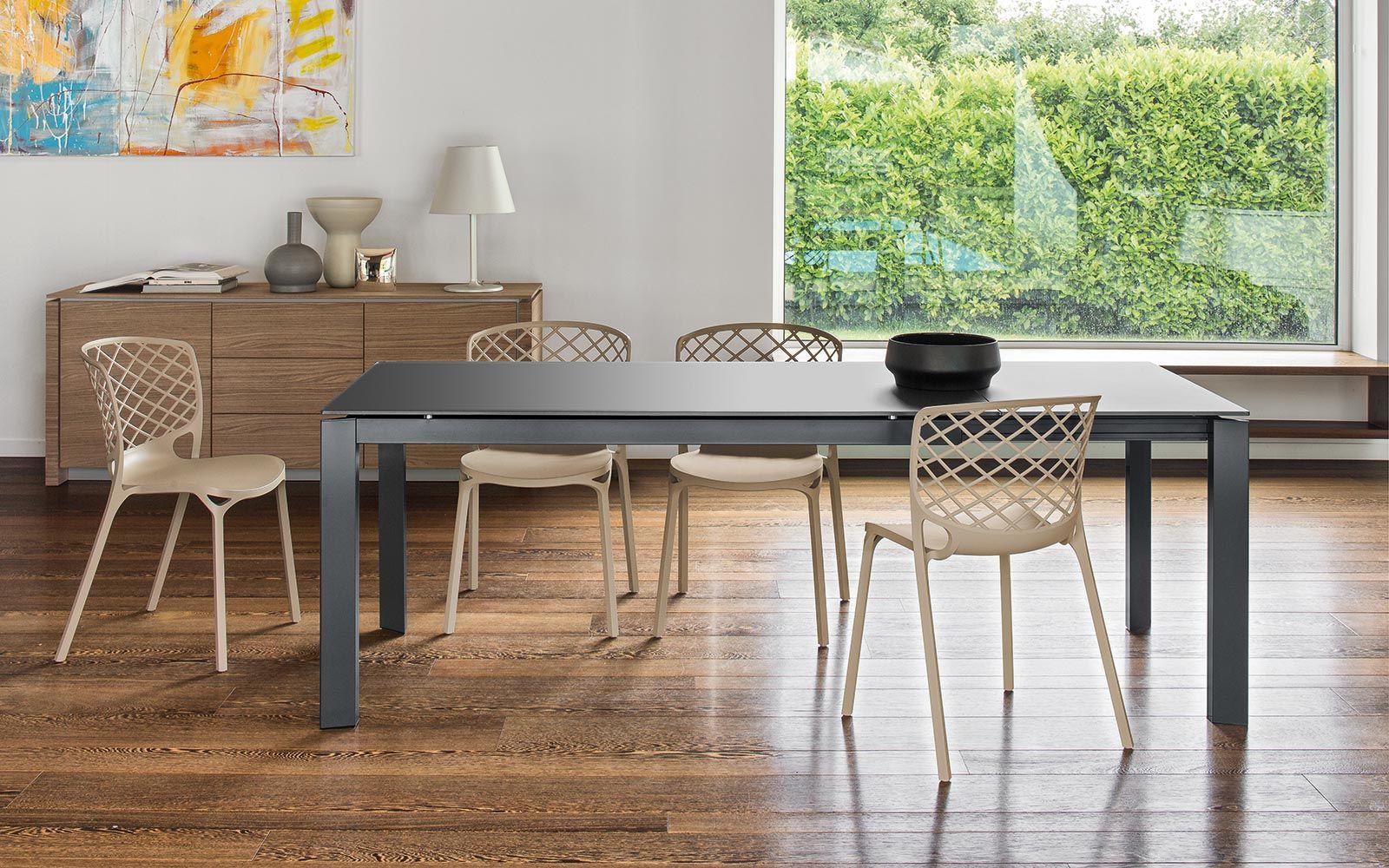 Table moderne à rallonges plateau rectangulaire en verre trempé ...