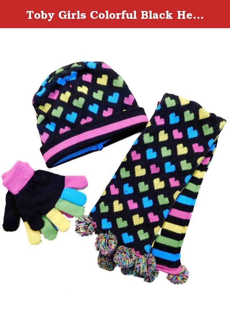 Toby Girls Colorful Black Heart & Stripes Peruvian Trapper Hat Scarf & Gloves. This darling colorful 3 piece reversible trapper style knit hat, scarf, and gloves combo is sure to be a cold weather favorite! One size (4-16) 3-PC Hat, Scarf, and gloves Reversible print Stretch knit gloves Brand: Toby N.Y.C. .