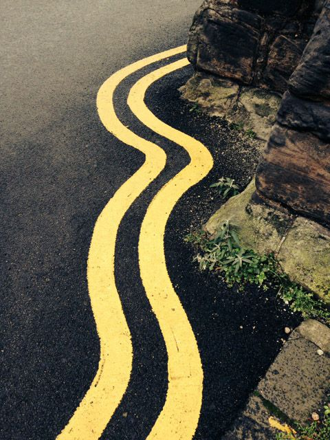 Wiggly double yellow lines by Vicki Allen