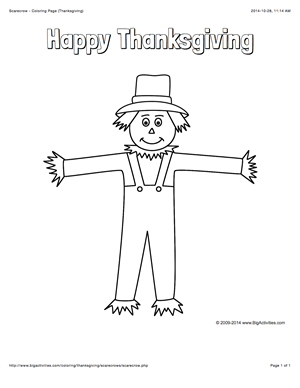Thanksgiving Color Page With A Scarecrow And The Words Happy Thanksgiving Fall Coloring Pages Scarecrow Coloring Pages Free Printable Coloring Pages