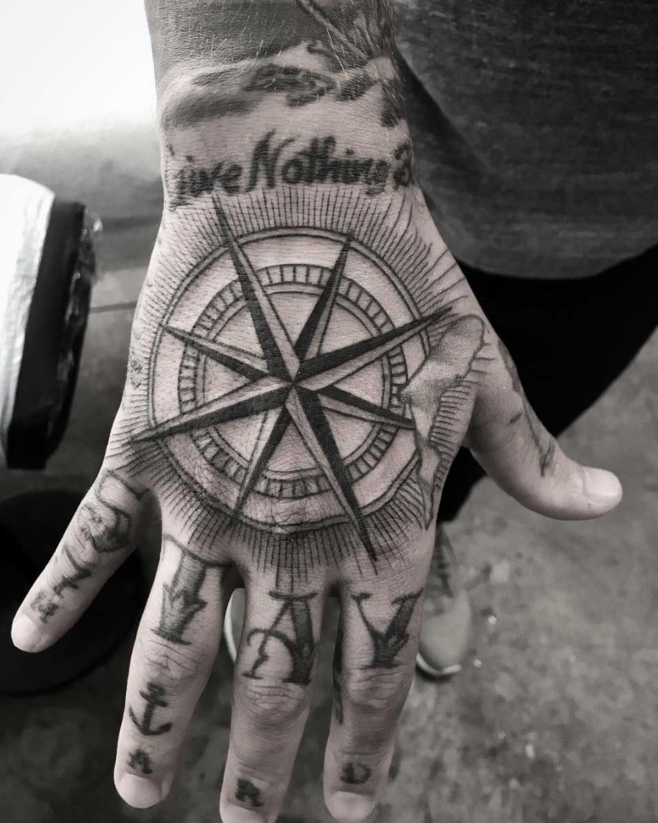 A Compass By Kristi Walls Hand Tattoos For Guys Mandala Hand Tattoos Hand Tattoos