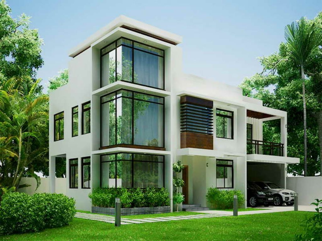 Green modern contemporary house designs Modern house columns