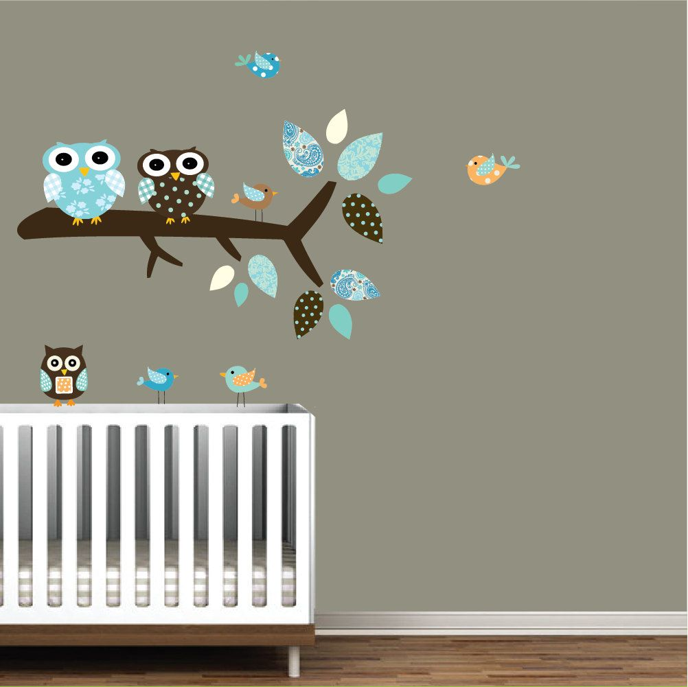 Children Vinyl Wall Decal with Owls Branch Birds-Nursery Tree Wall Decal. $49.00, via Etsy.