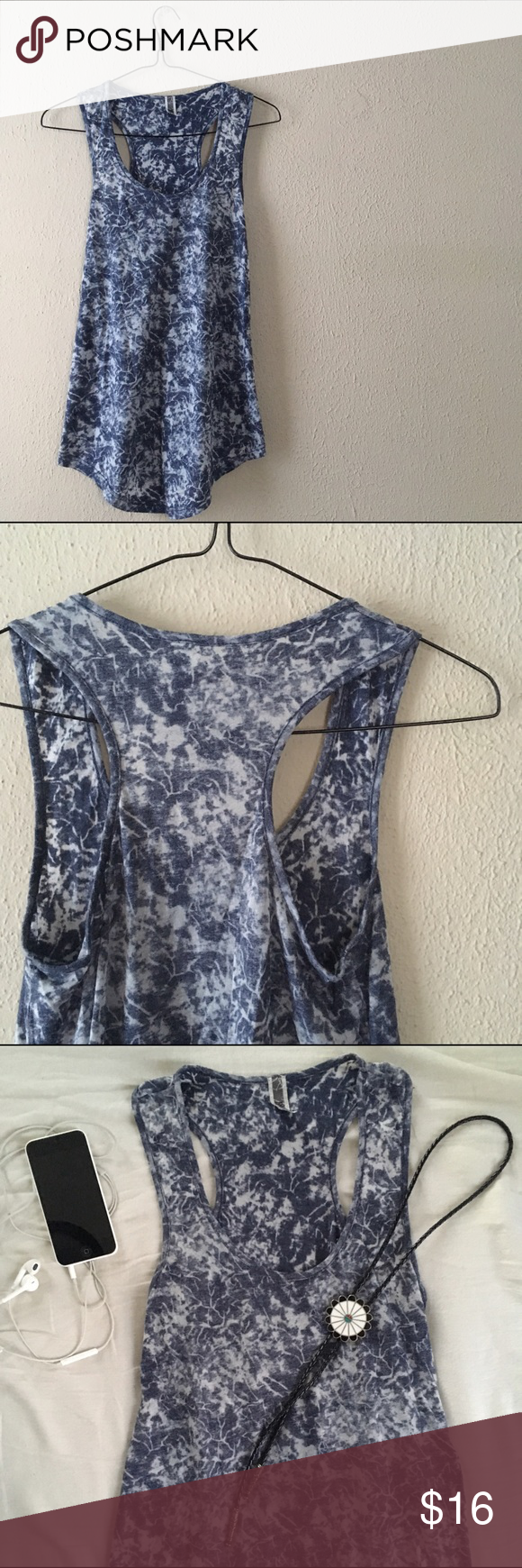 BKE Tye Dye Burnout Tank Super cute and cool blue and gray Tye dye Burnout tank//material is slightly sheer so this would look adorable with shorts and a fun bandeau top underneath//GENTLY USED/good condition/sleeveless top/scoop neck/curved hem//perfect for warm spring and summer BKE Tops Tank Tops