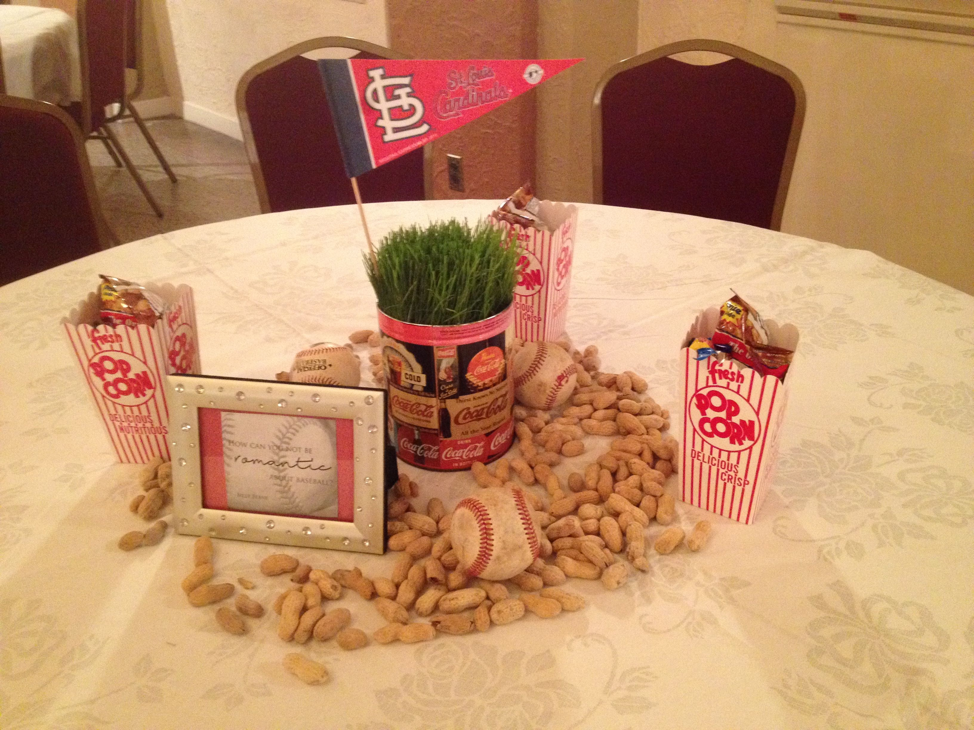 baseball wedding reception centerpiece