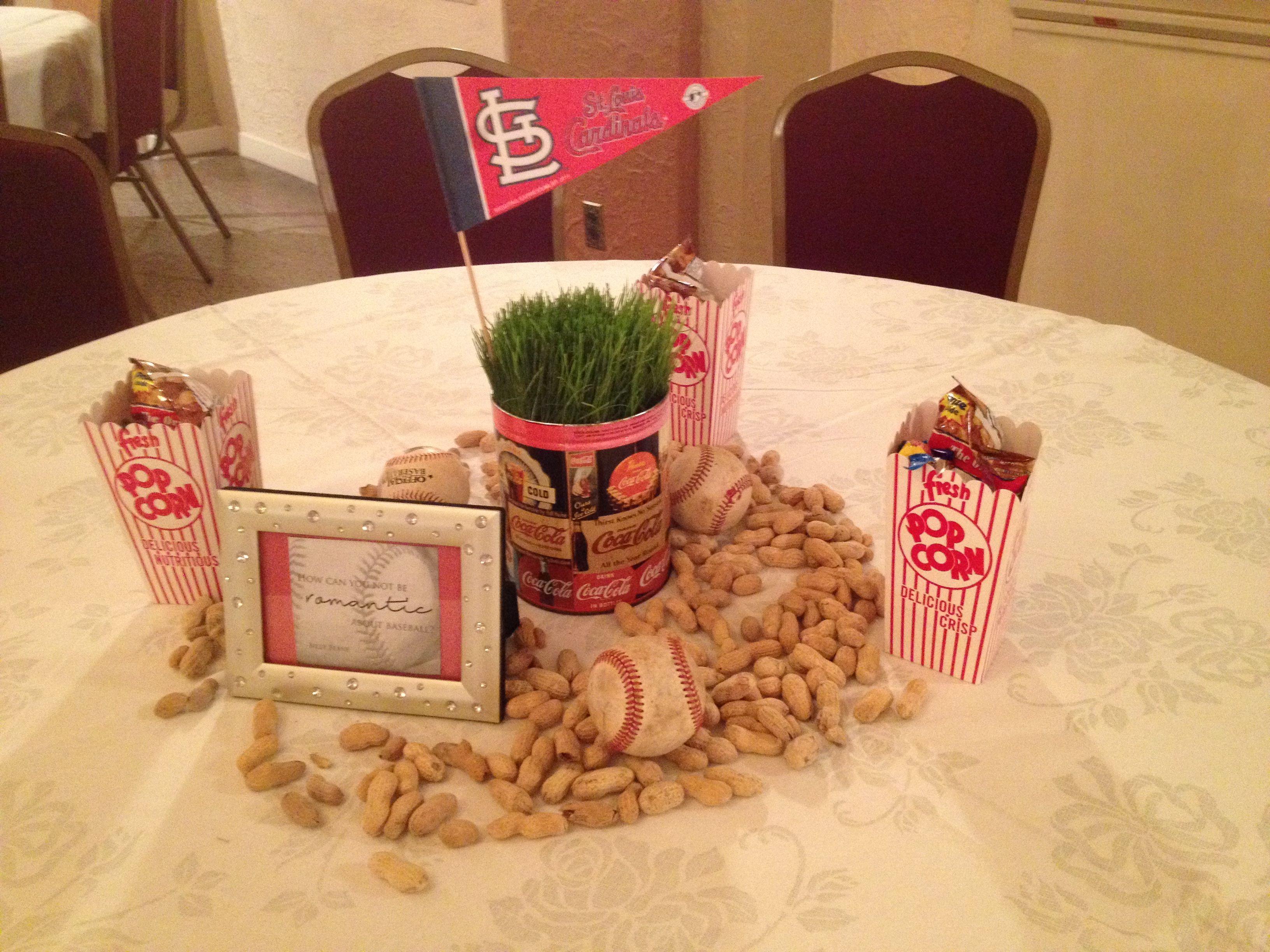 Baseball Wedding Reception Centerpiece
