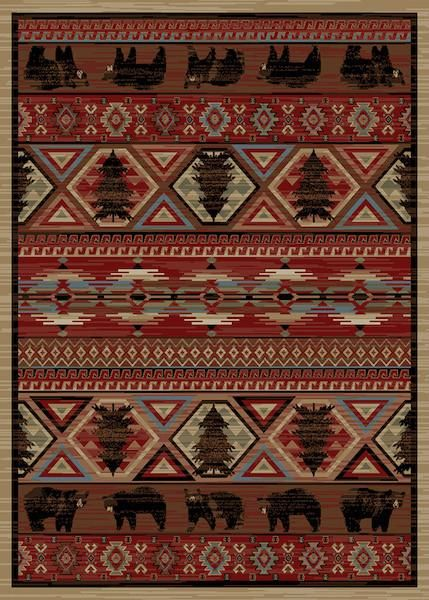 American Bear Lodge Rug Collection Cabin Rugs Red Area Rug