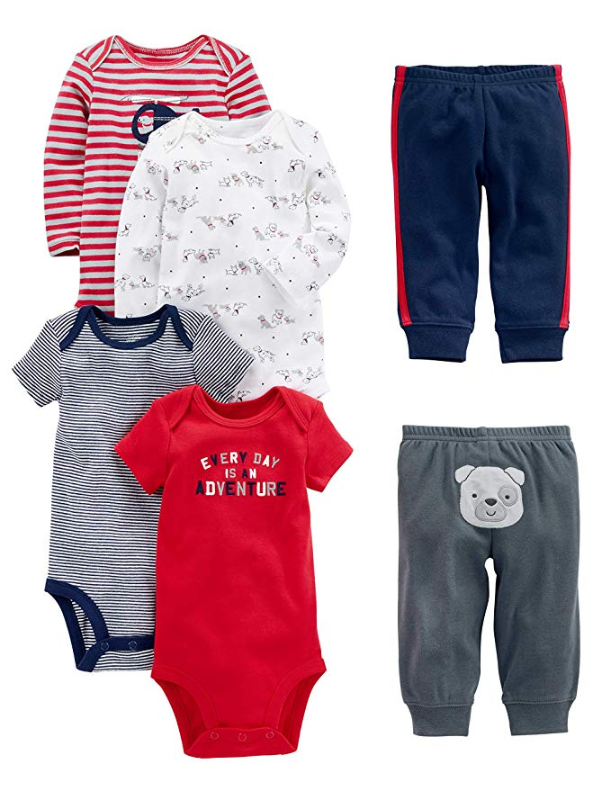 Simple Joys by Carters Baby Boys 6-Piece Bodysuits Short and Long Sleeve and Pants Set