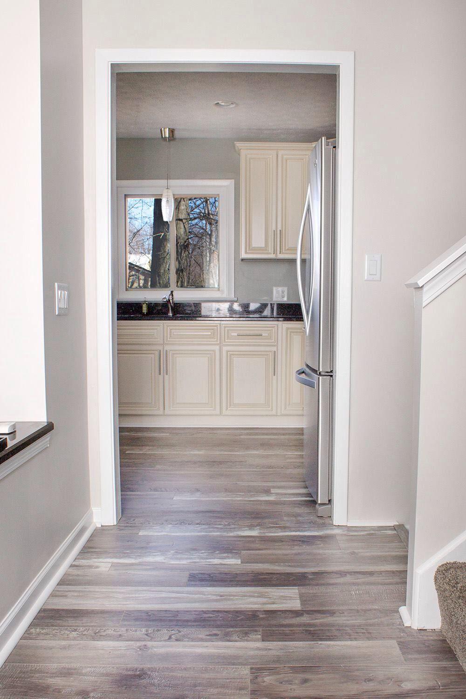Grey walls   laminate flooring    Living room ideas   Pinte