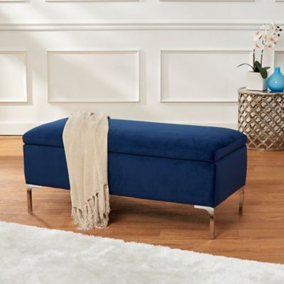 Cool Velvet 40 Storage Bench With Metal Legs In Navy Products Ncnpc Chair Design For Home Ncnpcorg