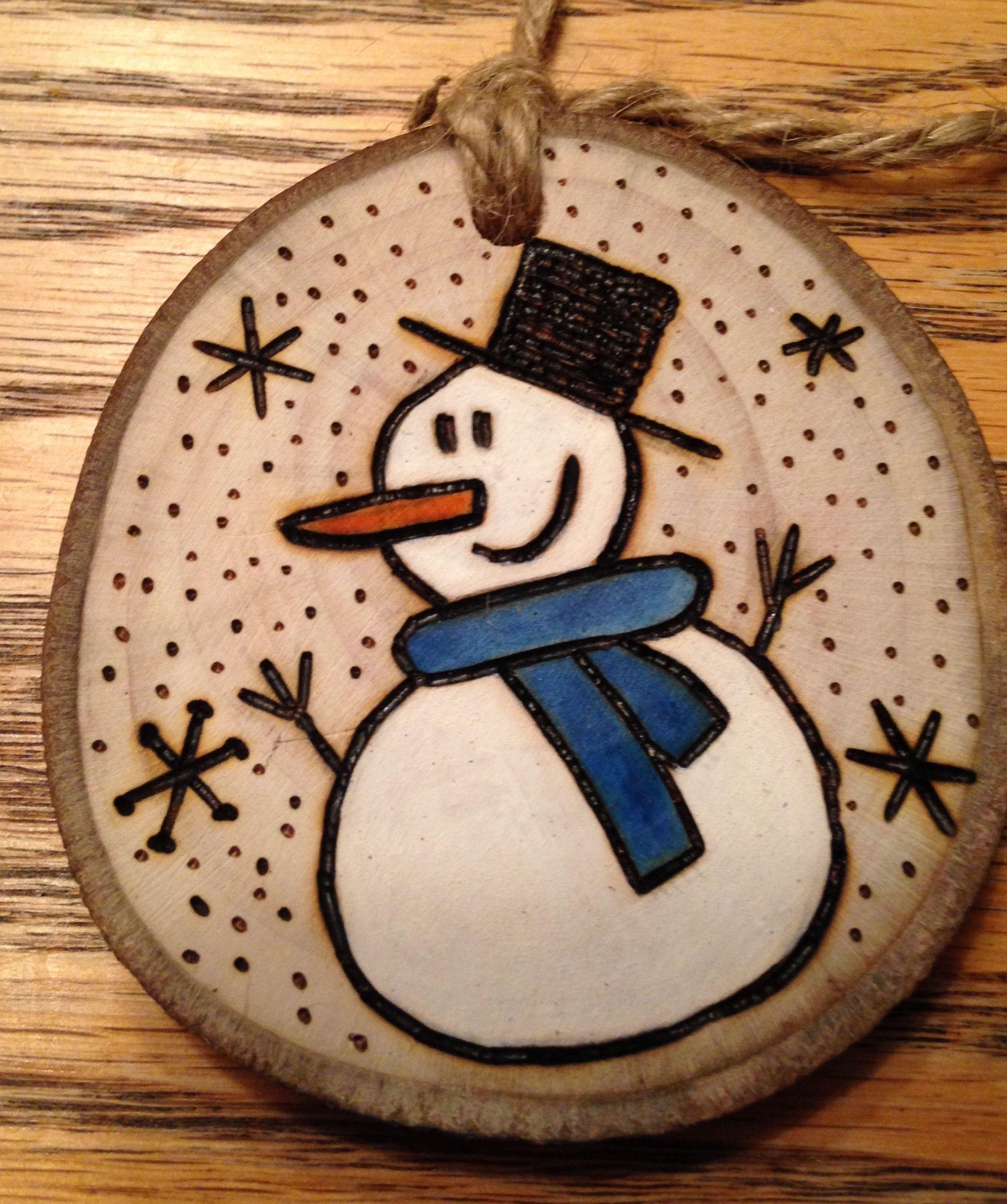 Rustic snowman wood burned Christmas ornament natural