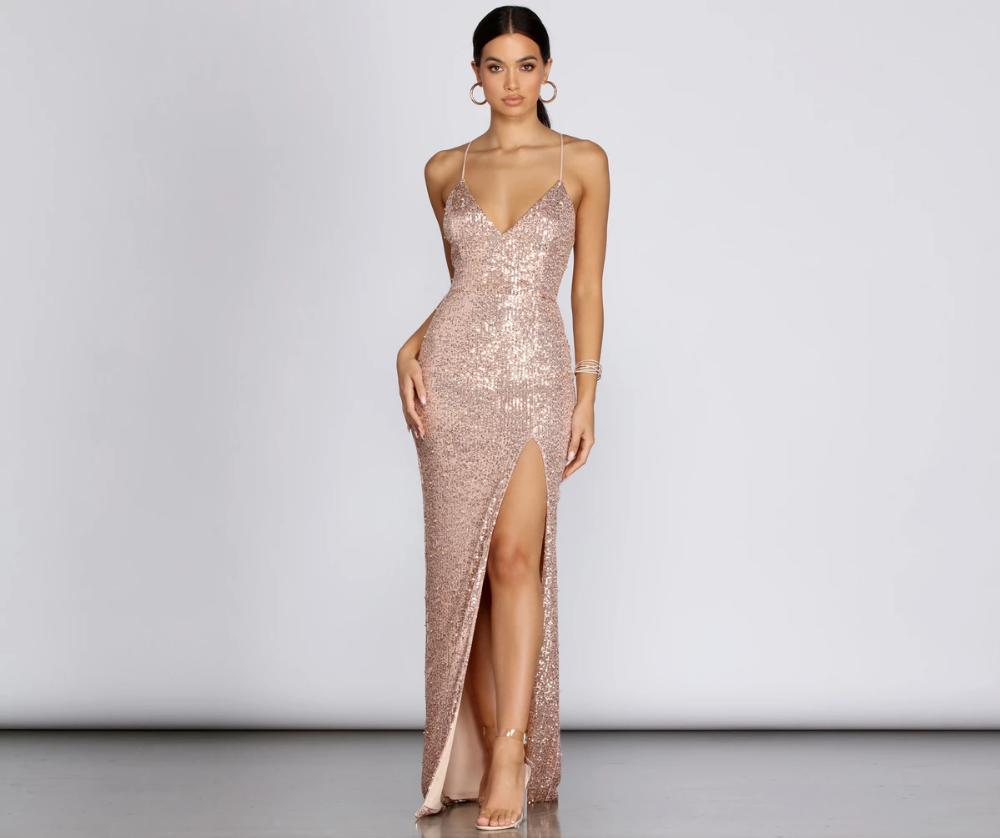 Cara Formal Sequin And Pearl Dress In 2021 Dresses Rose Gold Bridesmaid Dress Senior Prom Dresses [ 838 x 1000 Pixel ]