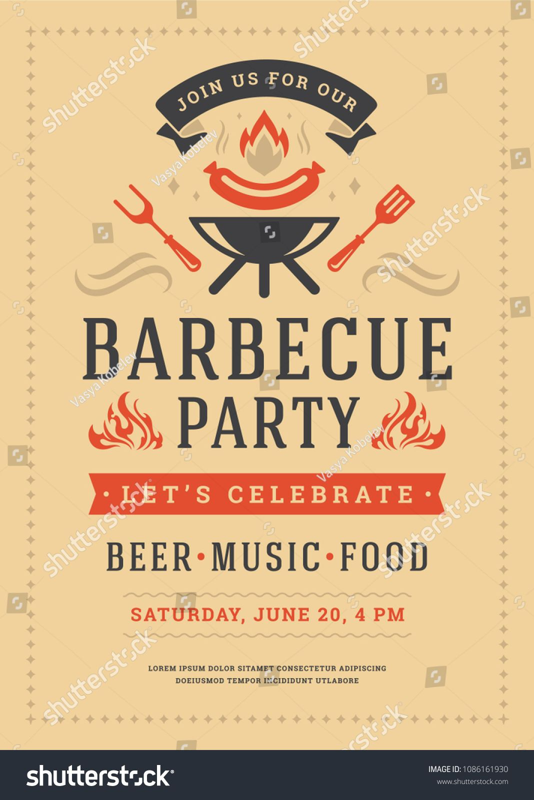 barbecue party vector flyer or poster design template bbq cookout