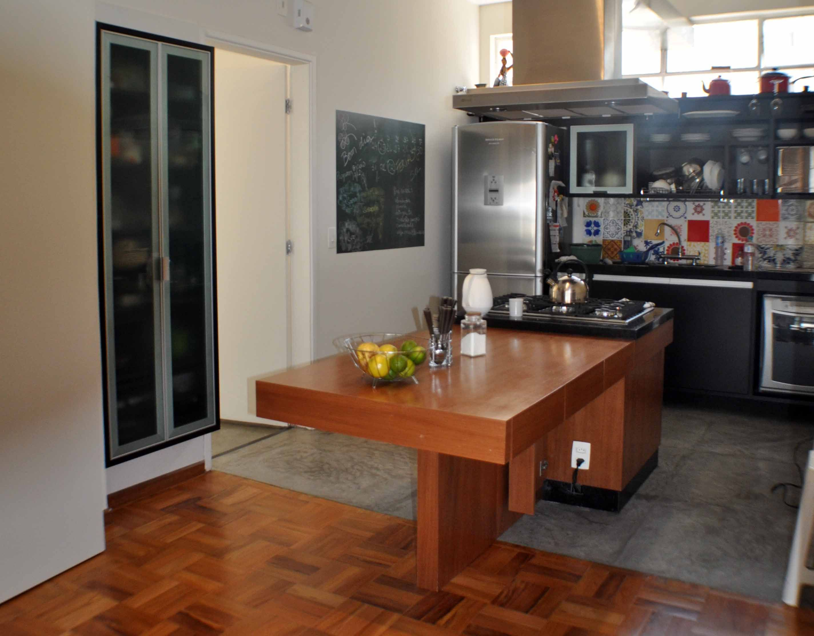 Cozinha Com Arm Rios Em Mdf Preto E Ilha Em Mdf Revestido Em
