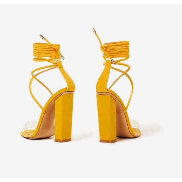8f5c6c8a17 Bello Perspex Lace Up Block Heel In Yellow Faux Suede ($39) ❤ liked on Polyvore  featuring shoes, pumps, lucite pumps, perspex shoes, yellow pumps, ...