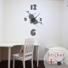 Splash And Numbers Clock Wall Decal Sticker Horloge Avec Taches
