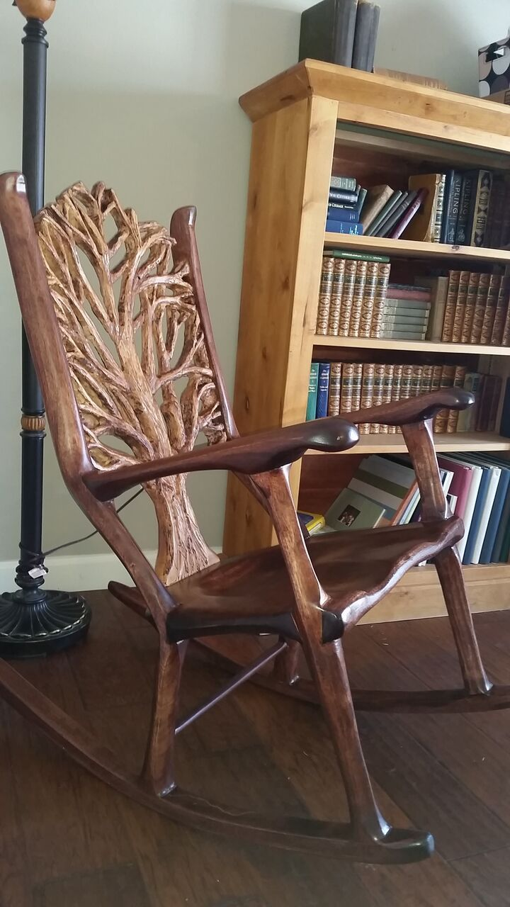 Mahogany And Maple Rocking Chair, Built With Mortise And Tenon Jointery,  Dove Tails,