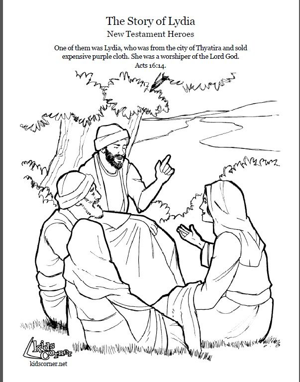 The Story Of Lydia Coloring Page Script And Audio Kidscornerreframemedia Bible Stories