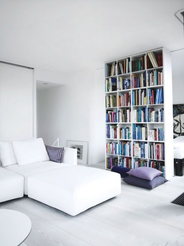 Floor To Ceiling Bookshelf Dividing A Small Space