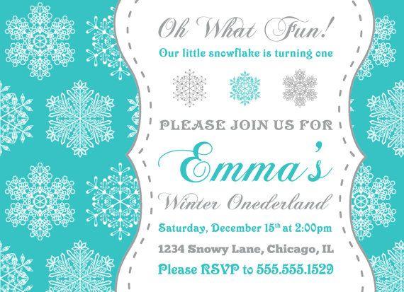Winter Onederland Invitation Snowflake Invitation for Winter – Snowflake Party Invitations