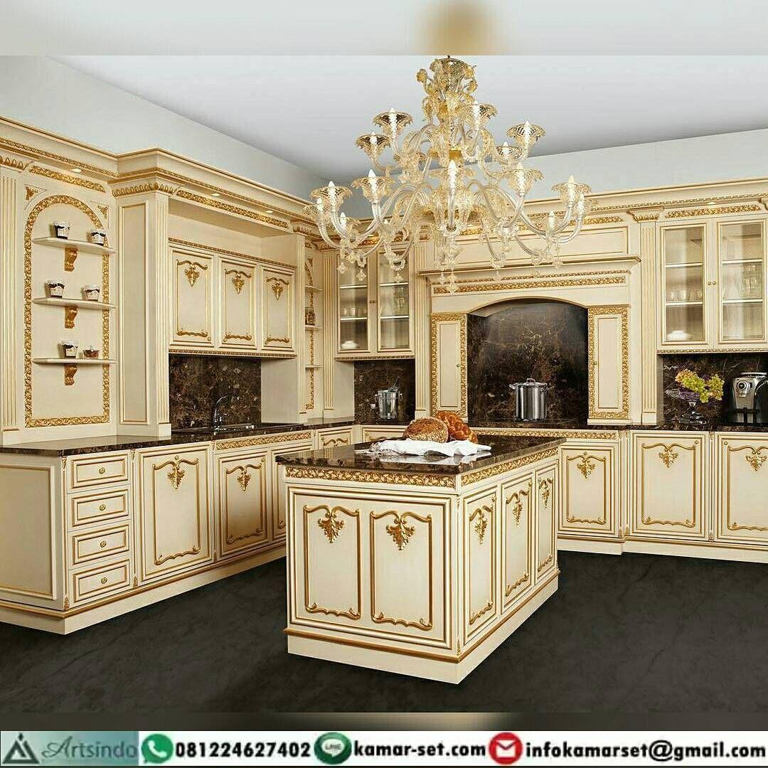 Kitchen set klasik elegan warna krem gold ukiran furniture jepara model terbaru