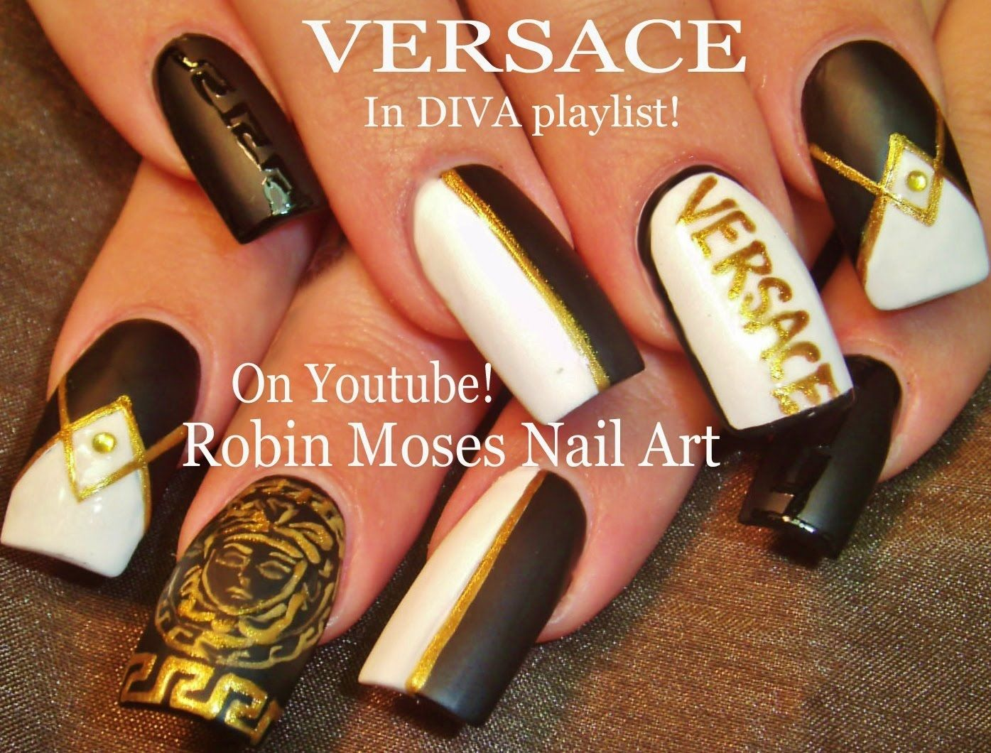Nail Art Tutorial | DIY Matte Black & White Nails | Versace Diva ...