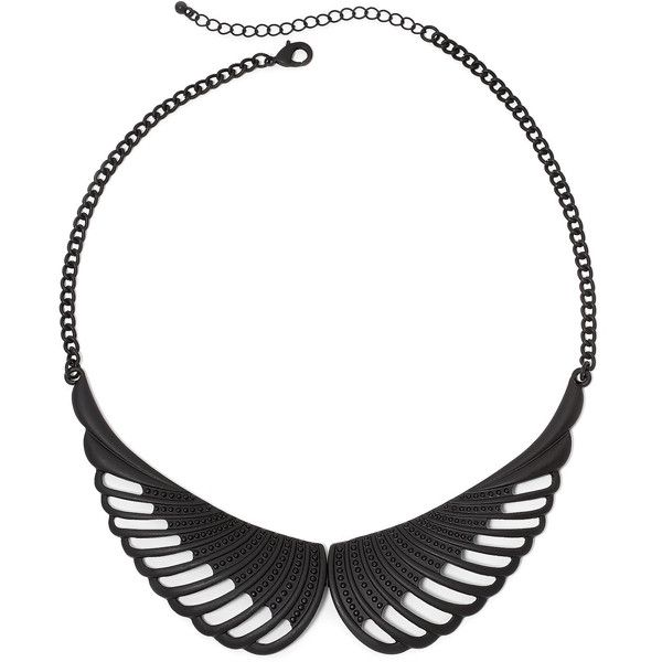 Decree Wing Statement Necklace ($7.99) ❤ liked on Polyvore featuring jewelry, necklaces, chain link necklace, decree jewelry, black metal jewelry, statement necklace and bib statement necklace