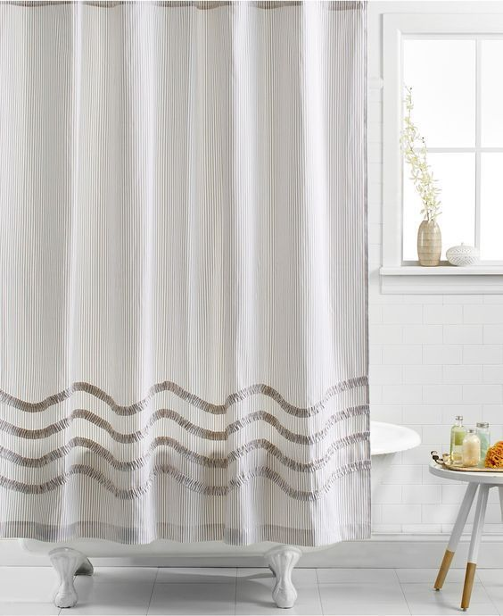 Beautiful Martha Stewart Ruffle Fabric Shower Curtain Textured Stripe White/Tan New  $40 | Ruffle Fabric, Martha Stewart And Bath Shower