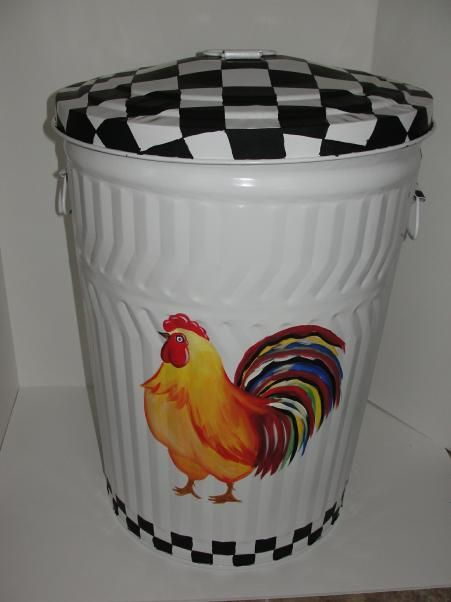 Painted Metal Garbage Cans Decorative Hand