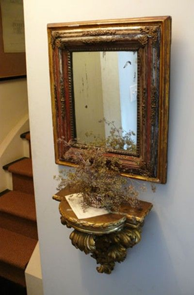 Gilded Gilt Gold Mirror Antique Vignette Shelf Wall Sconce Decorating Ideas Candle Wall