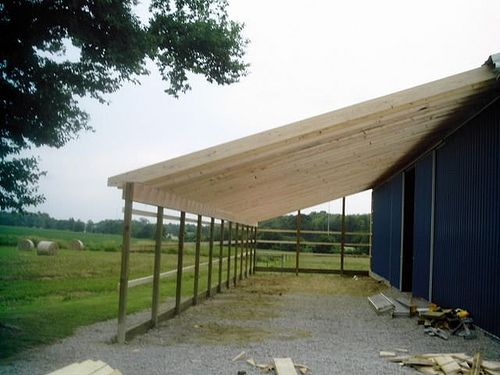 Image result for how to build a lean to off a pole barn for Adding onto a pole barn