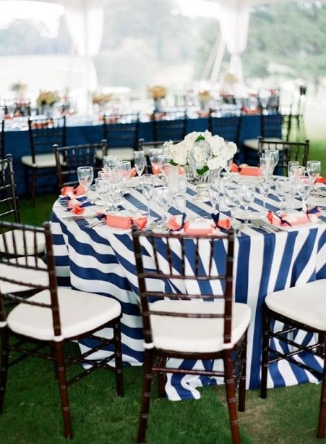 Navy Blue And White Striped Table Linens Wedding
